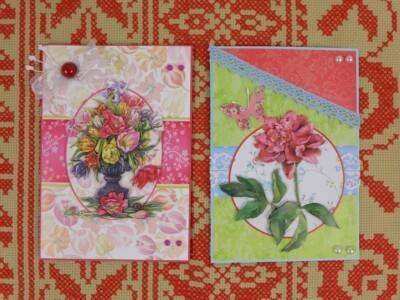 Twee zelfgemaakte kaarten