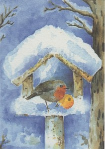 Kerstkaart bescheeuwd vogelhuisje