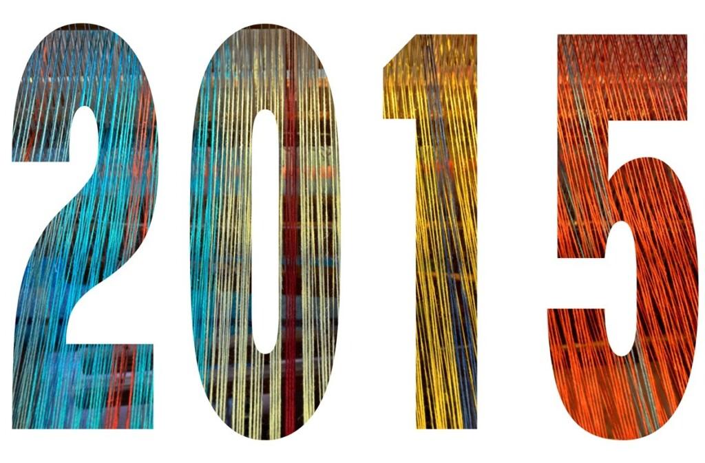 2015 in gekleurde letters van weefgetouw