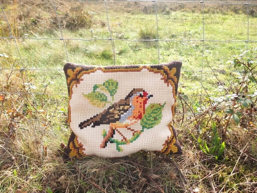 Kussen met geborduurde vogel