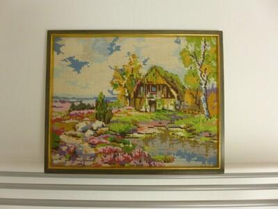 Tapisserie schilderij boerderijtje
