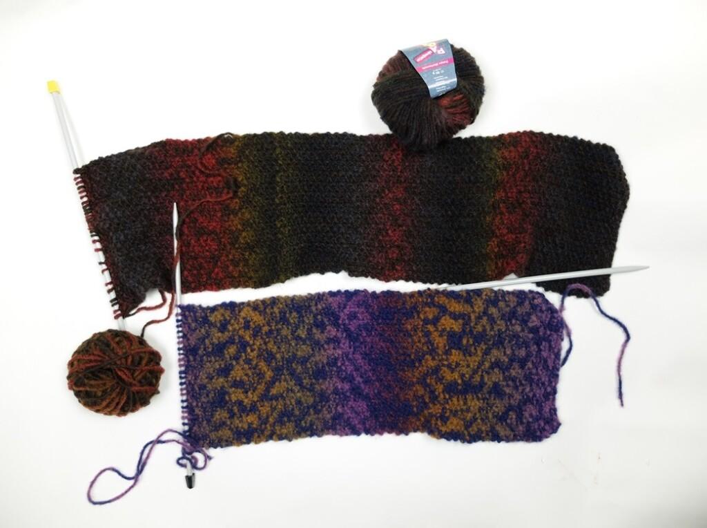 Twee sjaals met kleurverloop om te breien