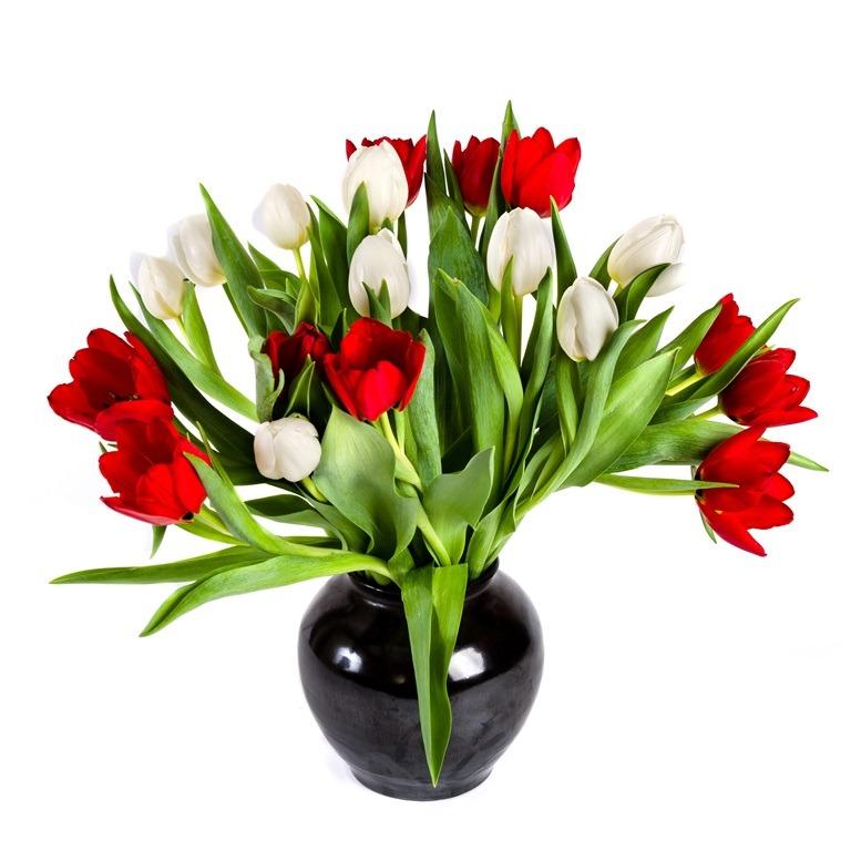 Zwarte vaas met tulpen