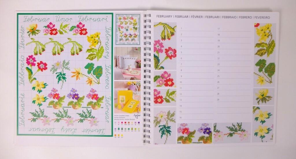 Borduur kalender met afbeelding februari