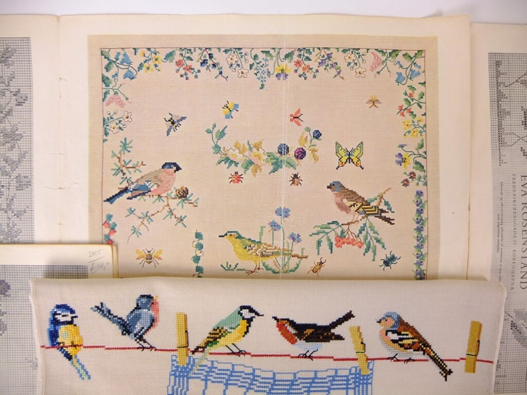 Geborduurde vogeltjes en oud patroon