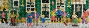 Marklin poppetjes op borduurwerk