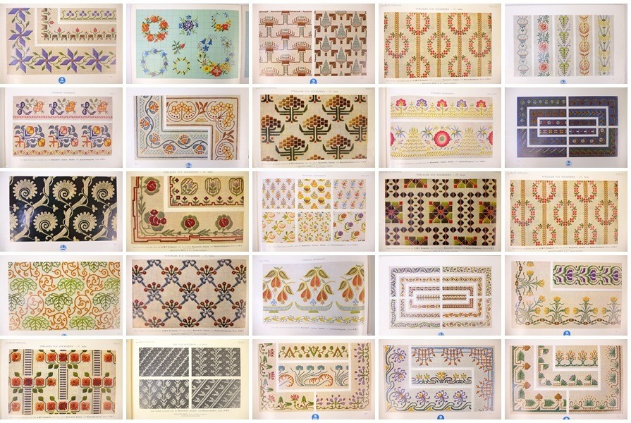 Collage van 25 bladzijden uit oude DMC boekjes