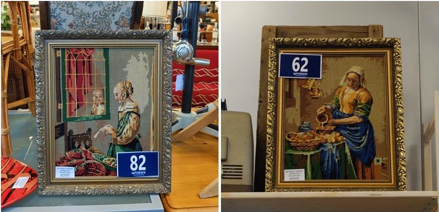 Twee tapisserie schilderijen