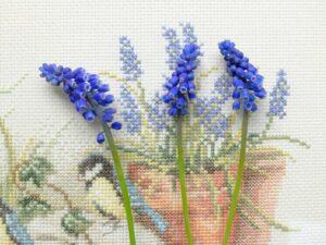 Blauwe druifjes op borduurwerk