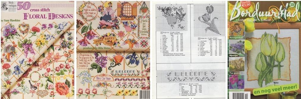 Collage borduurpatronen bloemen