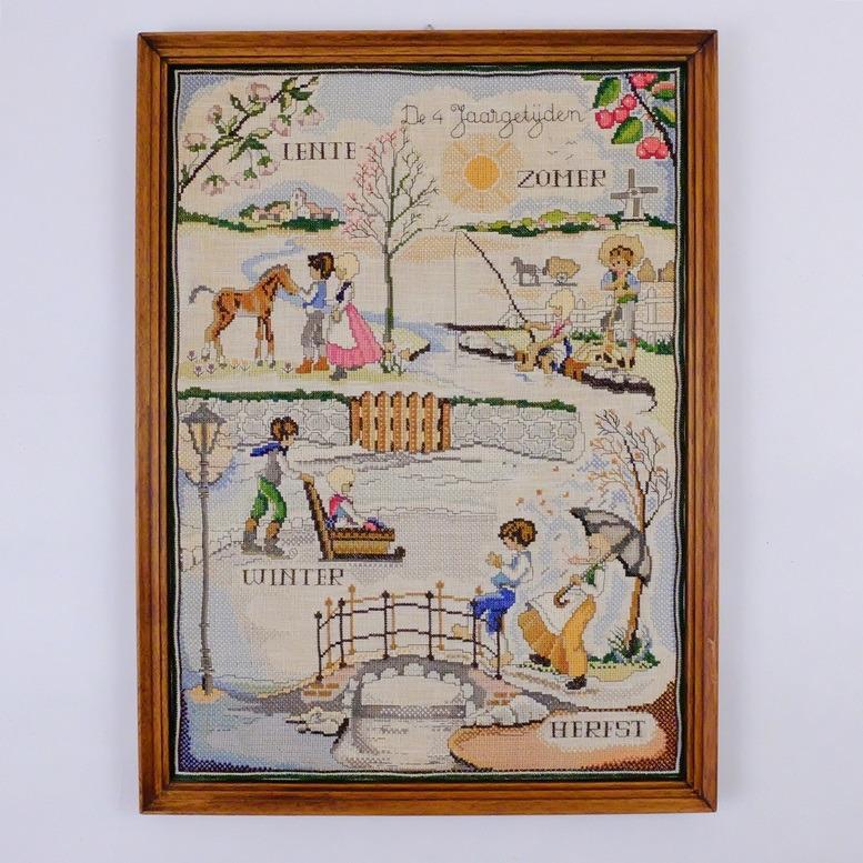 Geborduurd-schilderij-De-4-Jaargetijden