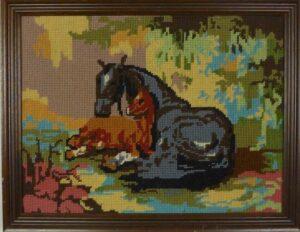 Tapisserie schilderij paarden