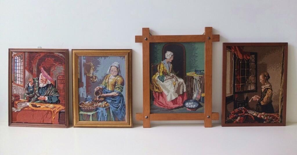 Vier tapisserie schilderijen