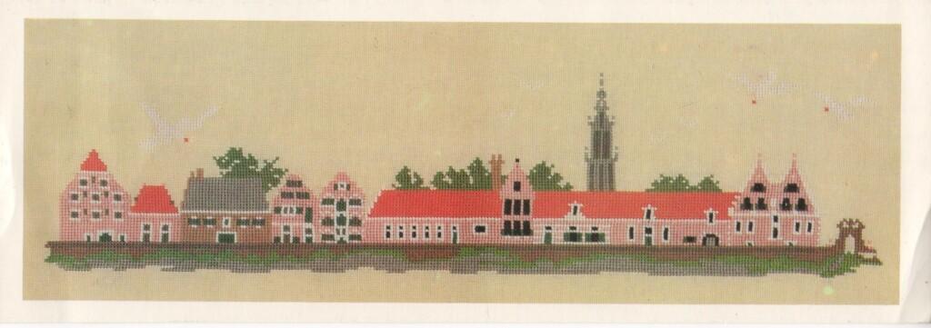 Ansichtkaart met borduurwerk Mies Bloch