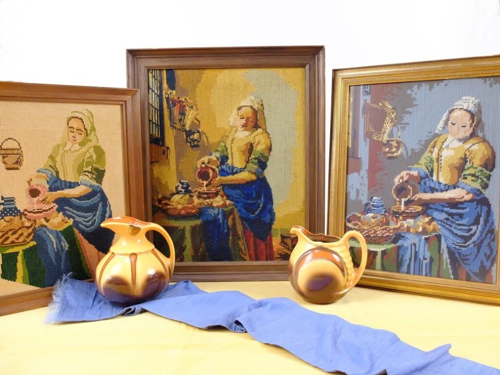 Drie keer tapisserie Melkmeisje Vermeer