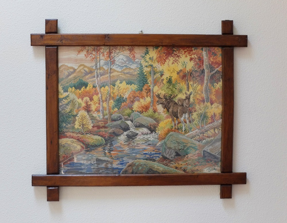 Geborduurd schilderij Eland in bos