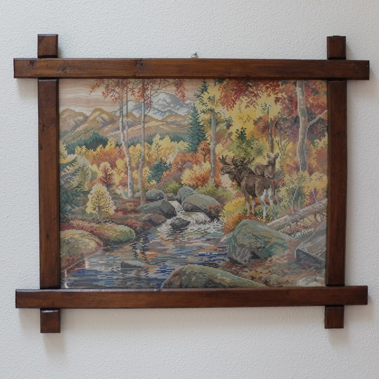 Tapisserie schilderij Herfstbos met eland