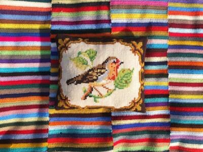 Vogeltjeskussen op kleurig kleed