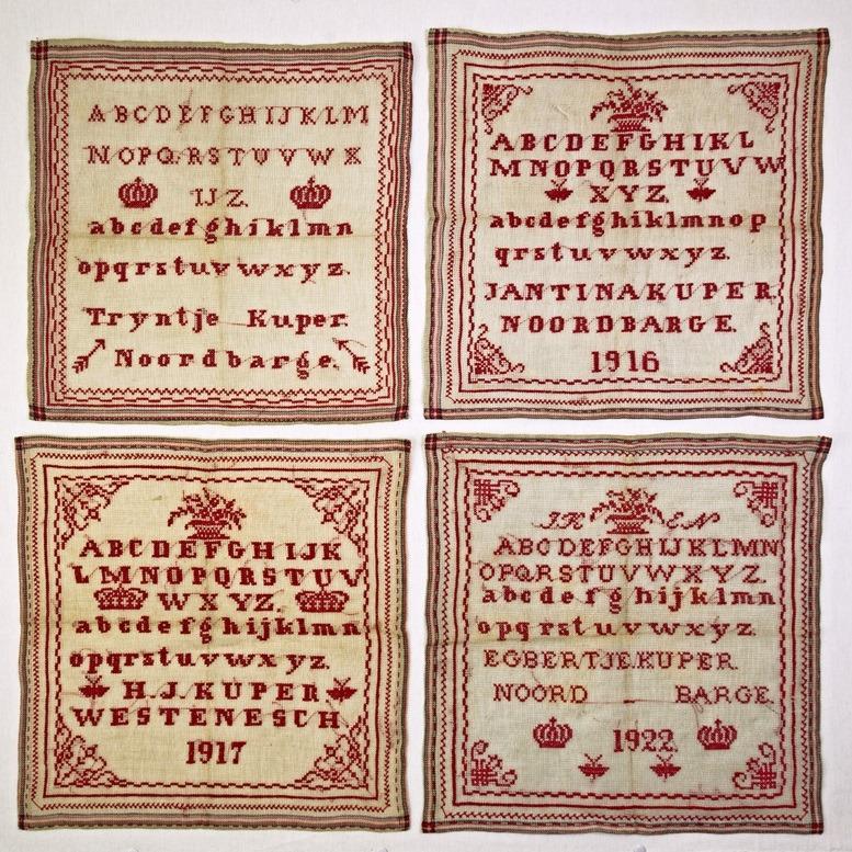 Collage vier merklappen Noordbarge