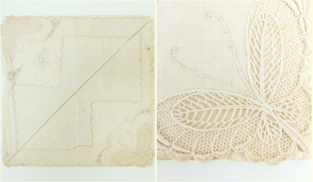 oud kanten zakdoekje met open naaiwerk