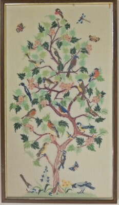 Borduurwerk Vogeltjesboom ontwerp Mies Bloch