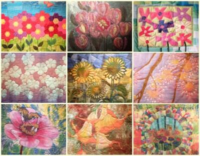 Collage bloeiende quilts tentoongesteld in Goes