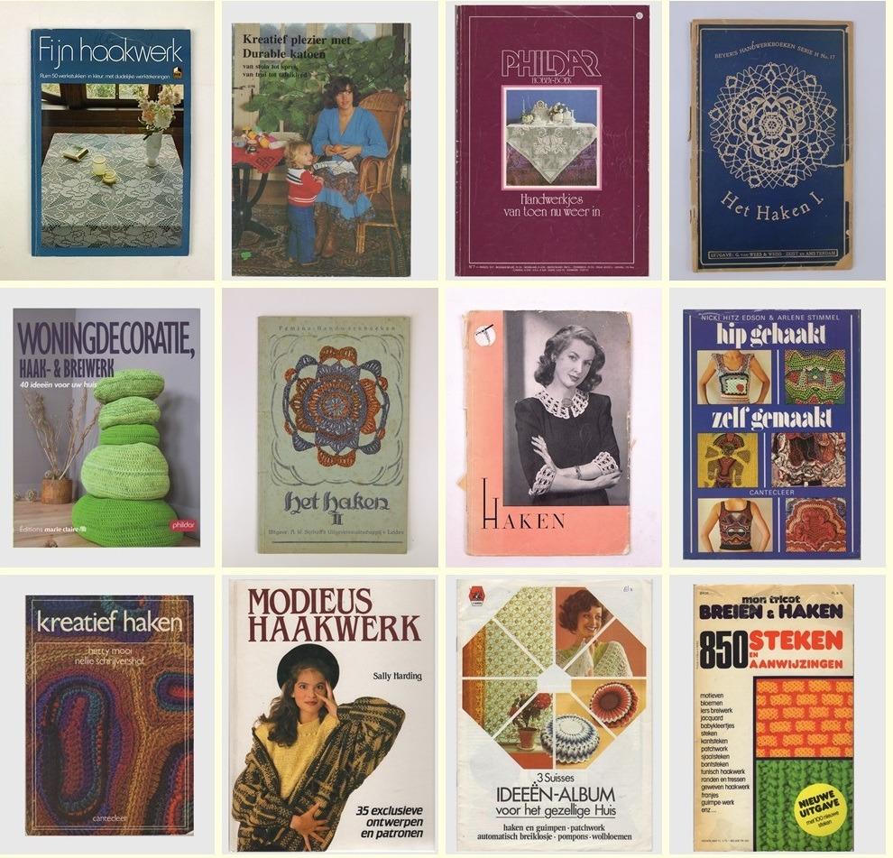Collage oude haakboeken
