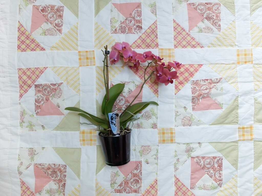 Dekbedquilt met orchidee