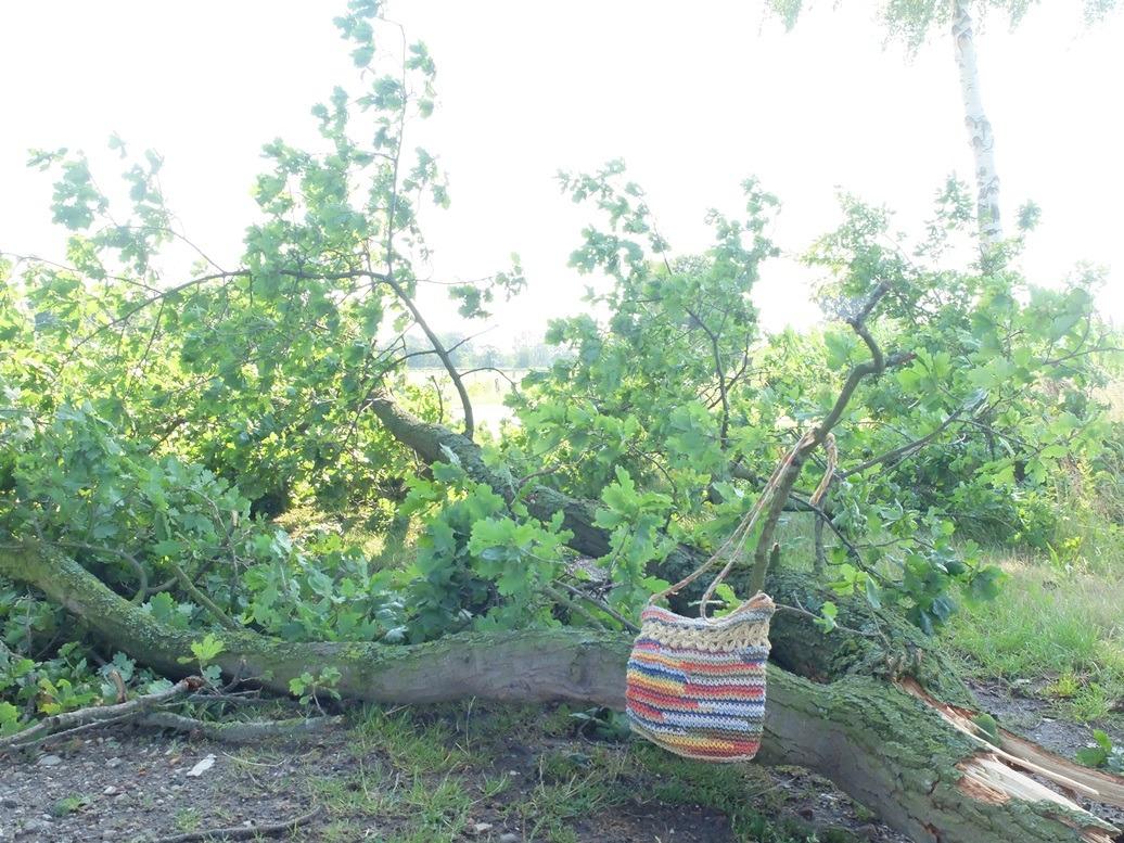 Gehaakt tasje aan afgebroken tak