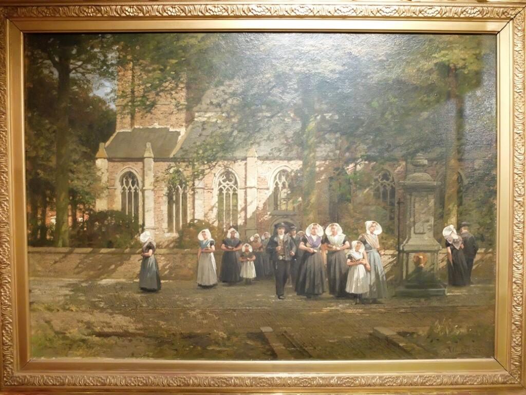 Schilderij Kerkuitgang te Kapelle van J.C. Klinkenberg
