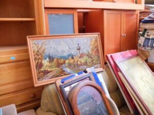 Tapisserie schilderij in kringloopwinkel