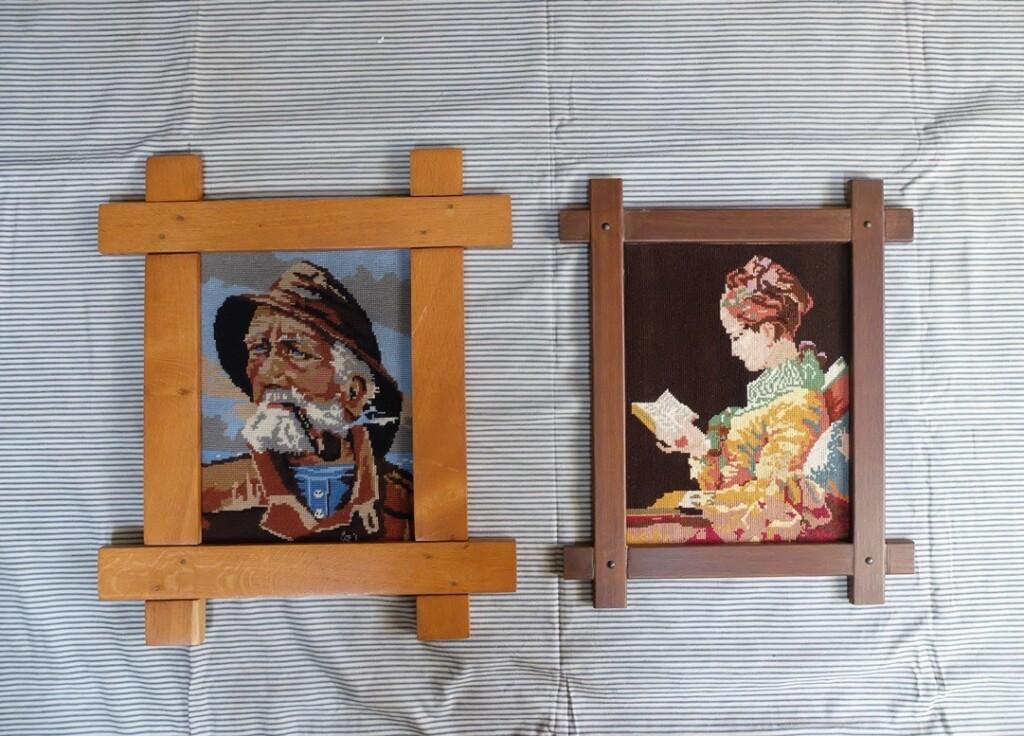 Tapisserieschilderijen Zeeman en Lezende vrouw