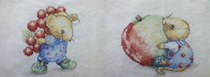 twee muisjes met fruit