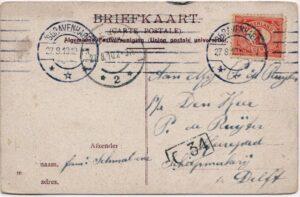 Achterkant ansichtkaart 1912