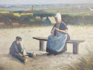 Breiende vrouw in duinen Domburg op oud schilderij