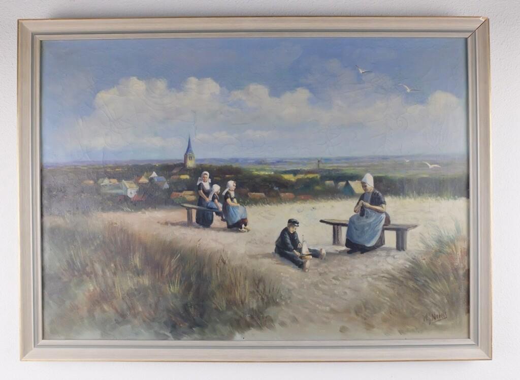 Schilderij breiende vrouw in duinen Domburg