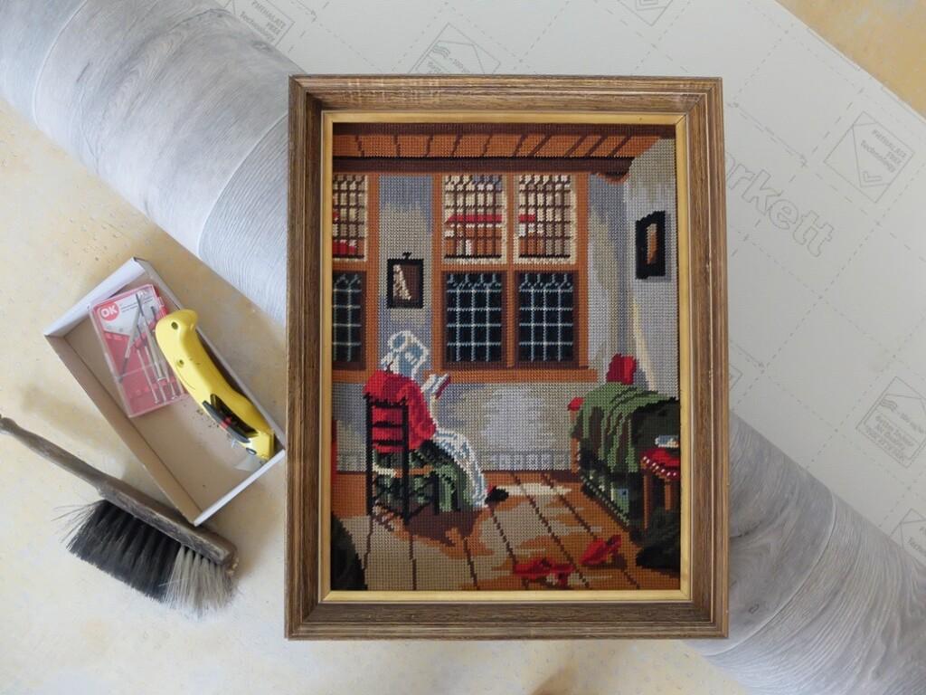 Tapisserie schilderij lezende vrouw