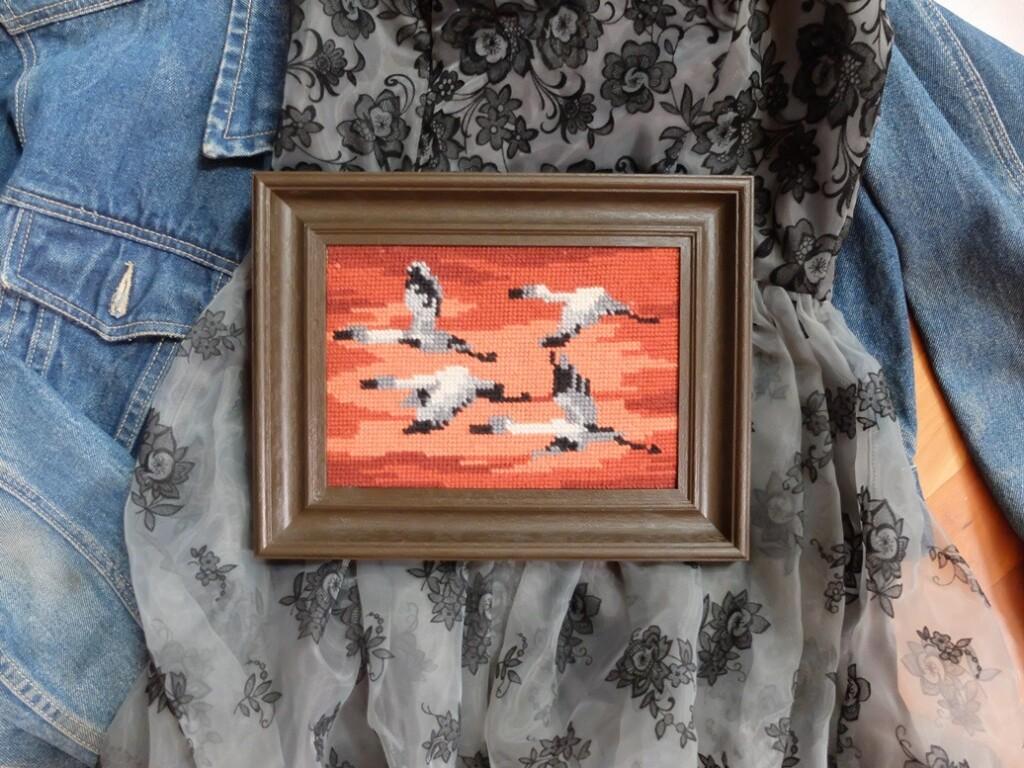 Tapisserie schilderijtje vliegende ganzen