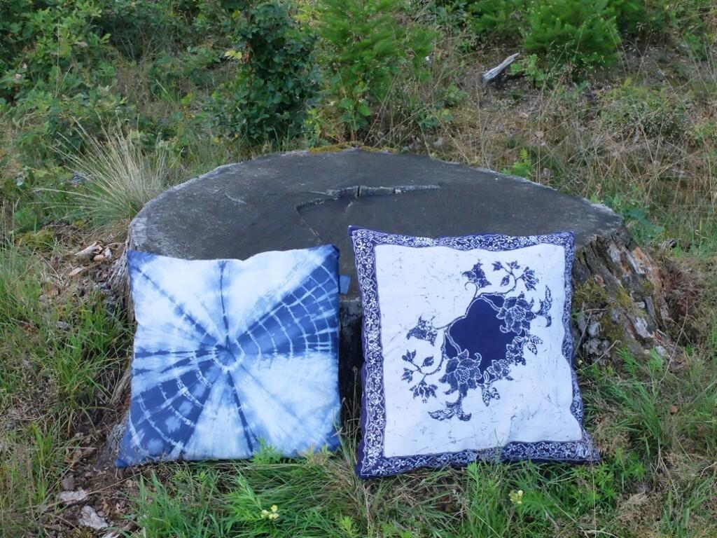 Twee blauwe kussens bij boomstam