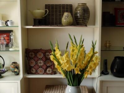 Aardewerk en gladiolen