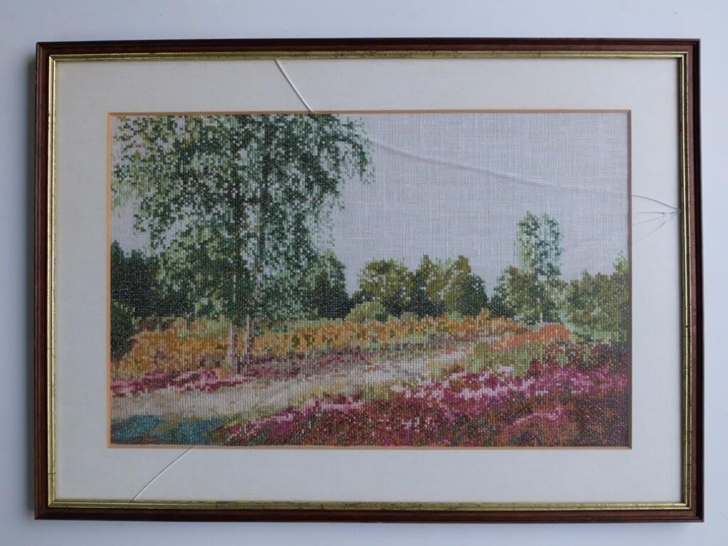 Geborduurd schilderijtje heidelandschap