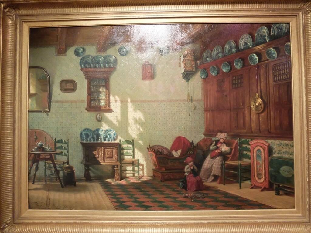 Schilderij Pieter Willem Sebes, moeder met baby en peuter
