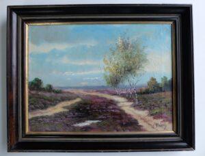 Schilderijtje heidelandschap
