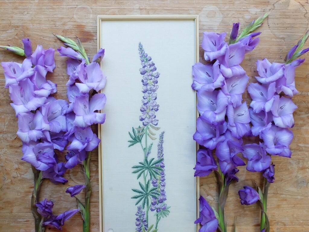 Geborduurd schilderij lupine tussen paarse gladiolen