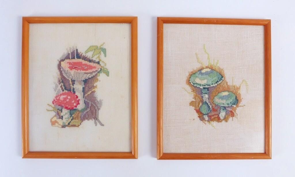 Geborduurde schilderijtjes paddenstoelen