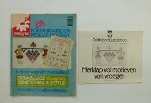 Oude Margriet met borduurpatroon merklapmotieven
