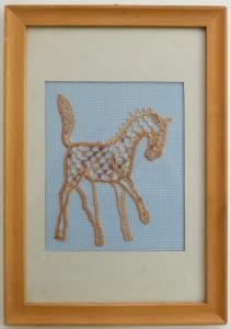 Schilderijtje borduurwerk paard