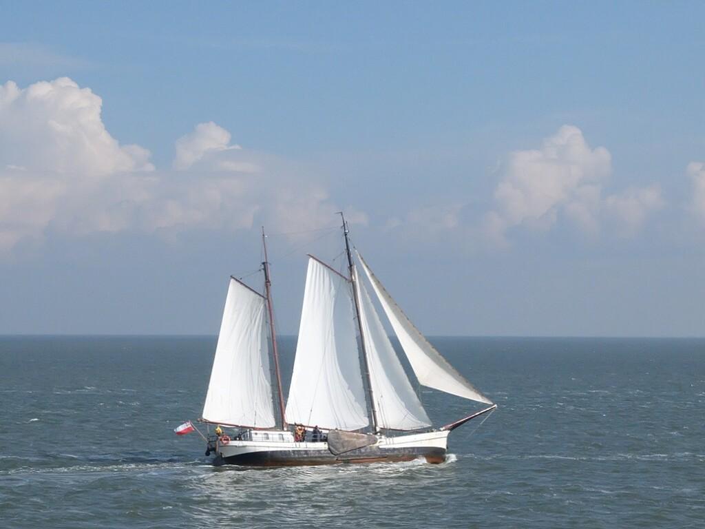 Zeilboot op waddenzee