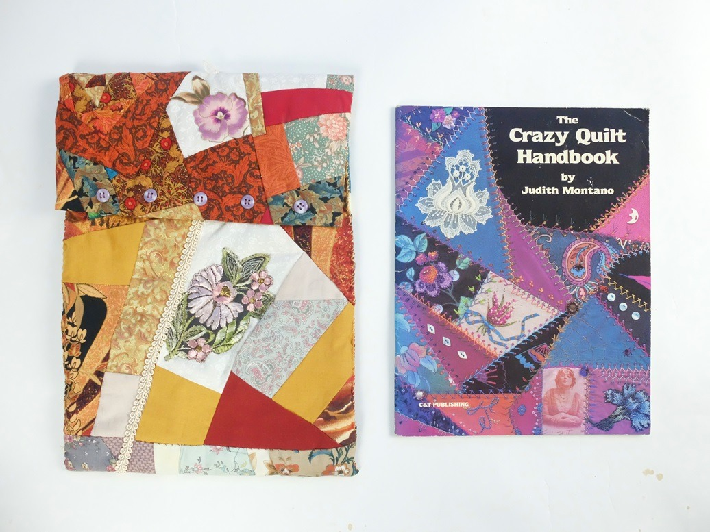 Boek en map crazy patchwork