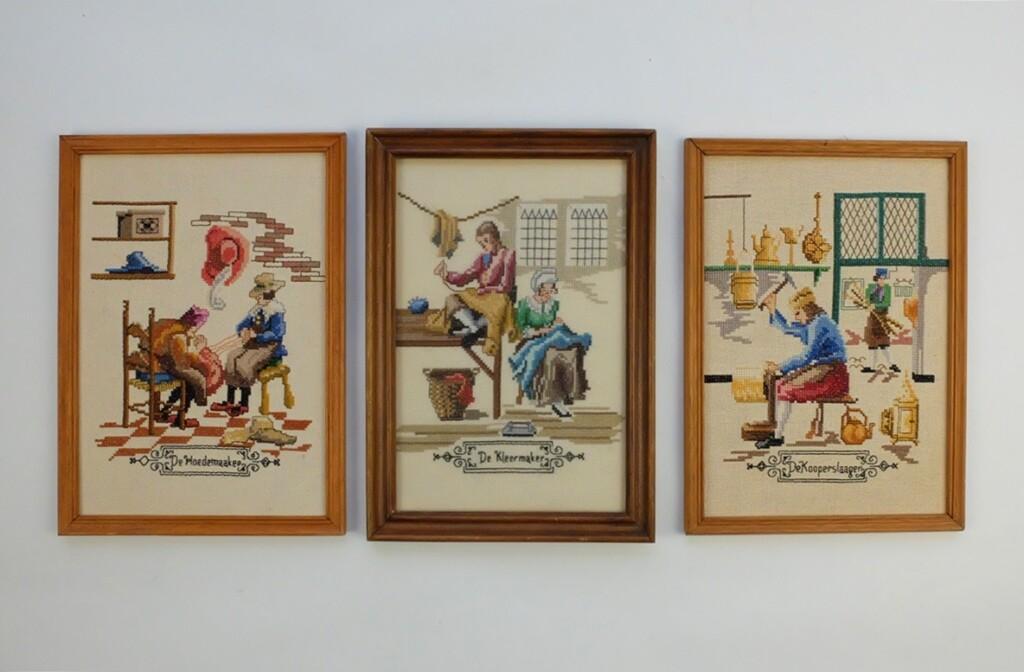 Drie schilderijtjes ambachten